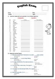 comparative and superlative adjectives worksheet by david