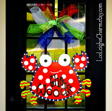 crab decorations for home crab door hanger crab party crab wreath beach wreath for