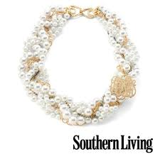 Monogram Necklaces Moon And Lola Southern Living Glass Pearl Necklace