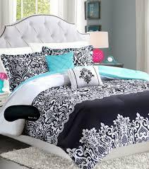 girls full bedding sets black pinch pleat comforter set damasks comforter and aqua