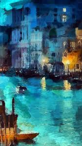 Classic Paint Art Classic Painting Water Lake Night Blue Iphone 5s Wallpaper