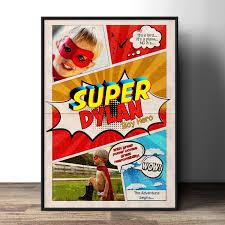 custom comic poster party sign super hero comic birthday gift