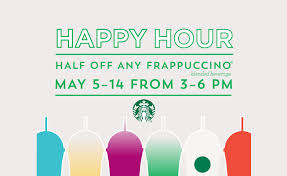 starbucks happy hour 2017 half any frappuccino may 5 14