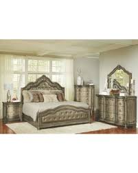 avalon bedroom set hot sale seville translucent platinum upholstered panel bedroom