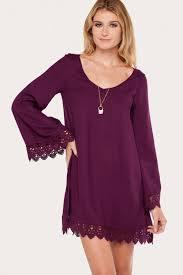 boho bell sleeve dress crochet trim dress purple dress