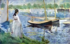 the monet family in their garden at argenteuil édouard manet the banks of the seine at argenteuil 1874 art