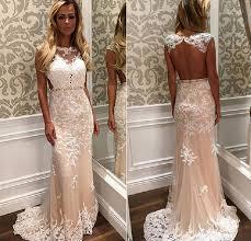 champagne color sale lace trumpet prom dresses 2017 modest open