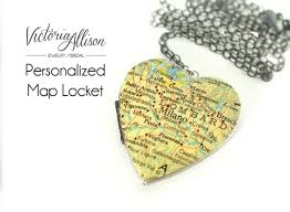 personalized locket necklace large silver map heart locket necklace on sterling silver chain