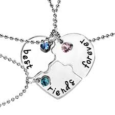 best friends heart necklace images Hand stamped best friends forever luck beads 3 piece heart puzzle jpg
