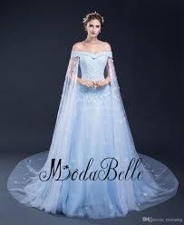 2017 new arrvial plus size wedding dress light blue flowers pearls