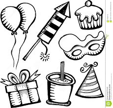 set of birthday sketch objects on white stock vector image 58586405