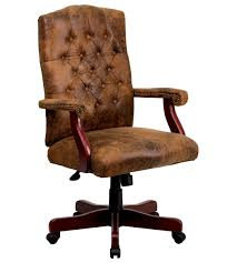brown leather armless desk chair furniture excellent bomber brown classic executive office chair