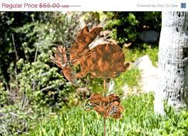 bunny rabbit lawn ornament garden yard stake metal copper