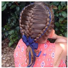 ribbon for hair that says gymnastics a french braid today framed with two 5 strand ribbon braids