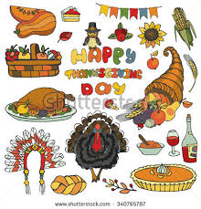thanksgiving day iconsdoodle setautumn harvest decor stock vector
