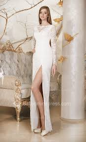 sheath long sleeve lace wedding dresses 2017 side slit simple