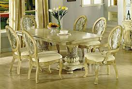 Silver Dining Table And Chairs Coronado Antique White Silver Brushed 7 Piece Dining Set By Acme