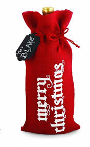 mud pie christmas holiday red burlap wine or spirits bottle gift