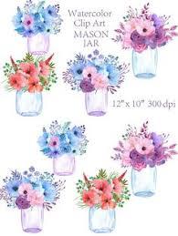 Clipart Vase Of Flowers Watercolor Vase Of Flowers Mason Jar By Corner Croft On
