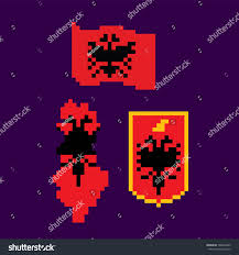Video Game Flags Flag Coat Arms Map Albania Pixel Stock Vector 789654469 Shutterstock