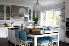 kitchen island dining kitchen island as dining table with blue leather stools