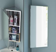 oak wall mounted corner bathroom mirror cabinet 45cm tall dining