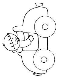 coloriage du garçon dans sa voiture tête à modeler