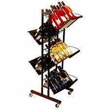 commercial wine display rack trolley wine display stand caster