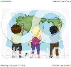 clipart of a rear view of black white and asian children painting