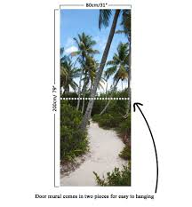 door mural coconut palm trees and road self adhesive door wrap door mural coconut palm trees and road self adhesive door wrap wall sticker