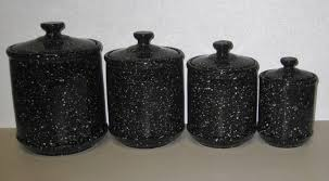 28 black ceramic kitchen canisters vintage black and white