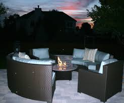 exterior dark wicker patio furniture with cushions and round