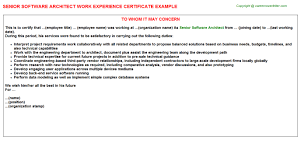 senior software architect work experience certificate
