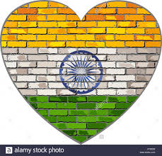 Flag Of Bengal Flag Of India On A Brick Wall In Heart Shape Illustration
