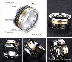 mens spinner rings 12mm wide mens stainless steel spinner rings three tone wedding