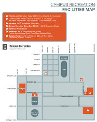 University Of Illinois Campus Map by Campus Recreation Facilities Map Campus Recreation