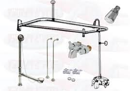 chrome clawfoot tub faucet add a shower kit w d ring enclosure