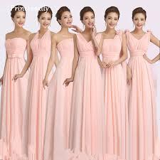 Pink Bridesmaid Dresses Aliexpress Com Buy Peachy Pink Bridesmaid Dress Long Chiffon