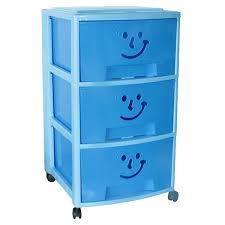 Des Rangement Sur Roulettes La Tour De Rangement Plastique Fancy Smile Bleue Avec Trois Tiroirs