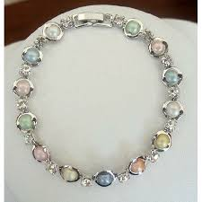 colored pearl bracelet images Rodium plated with simulated multi colored mother pearls and cz jpg