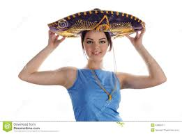 young smiling trying on mexican sombrero stock photo image