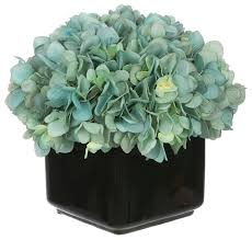 teal flowers artifial hydrangea in small black cube ceramic teal
