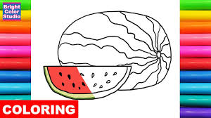 how to draw watermelon coloring pages fruit kids learn drawing