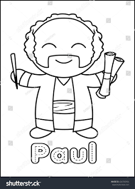 little bible character coloring activity paul stock illustration