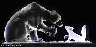 exquisite sculptures crafted from blocks of ice tell the story of