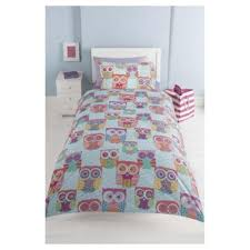 buy tesco bright patterned owl duvet set single from our