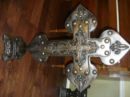 home decor crosses large fleur de lis standing cross hand painted and hand made old