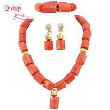 natural beads necklace images Buy nigerian wedding beads jewelry set natural jpg