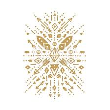 vector tribal patterns aztec shapes with ethnic elements gold