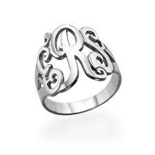 monogram rings sterling silver monogrammed silver ring engraved square designs monogram ring